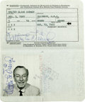 Movie/TV Memorabilia:Autographs and Signed Items, Walt Disney Passport. Disney autographs are rare and hugely desirable, and this one comes in truly amazing form. This United...