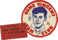 "Music Memorabilia:Memorabilia, Gene Vincent Concert Ticket and Fan Club Patch. A 5"" Gene VincentFan Club patch and an undated ticket to a performance by V..."