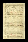 Colonial Notes:North Carolina, North Carolina December, 1771 Vertical Strip of Three 2s/6d, $1,10s New. A corner fold not into the design plus a little mo...