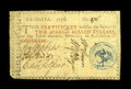 Colonial Notes:Georgia, Georgia 1776 $2 Very Fine. This note is well-signed with a boldblue seal. There are a few minor internal splits, and severa...