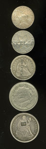 Counterstamps: , U.S. Coin Counterstamped Group Lot. Two scarce three cent silvers, a nickel three cent piece, a silver half dime and a Seate... (Total: 5 Coins)