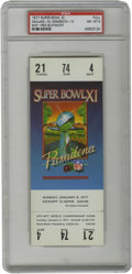 Football Collectibles:Tickets, 1977 Super Bowl XI Football Full Ticket PSA NM-MT 8. Offered is a PSA-graded full ticket from the 1977 Super Bowl played at ...