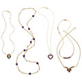 Estate Jewelry:Necklaces, Diamond, Amethyst, Garnet, Gold Necklaces. ... (Total: 5 Items)