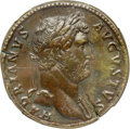 Ancients:Roman Imperial, Ancients: Hadrian (AD 117-138). AE sestertius (31mm, 23.50 gm,12h). NGC XF ★ 5/5 - 5/5, Fine Style....