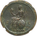 Ancients:Roman Imperial, Ancients: Antoninus Pius (AD 138-161). AE sestertius (33mm, 24.29gm, 6h). NGC AU ★ 5/5 - 5/5, Fine Style....