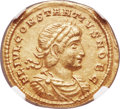 Ancients:Roman Imperial, Ancients: Constantius II, as Caesar (AD 337-361). AV solidus (21mm,4.42 gm, 6h). NGC XF 4/5 - 4/5....