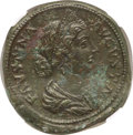 Ancients:Roman Imperial, Ancients: Faustina Junior (AD 147-175/6). AE sestertius (32mm,31.27 gm, 2h). NGC AU 5/5 - 3/5, Fine Style....