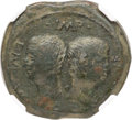 Ancients:Roman Provincial , Ancients: Octavian, as Imperator (43-27 BC), with Divus JuliusCaesar (died 44 BC). AE dupondius (31mm, 20.58 gm, 11h). NGC VF 4/5- 5/5...