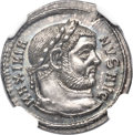 Ancients:Roman Imperial, Ancients: Maximian, First Reign (AD 286-310). AR argenteus (20mm,3.01 gm, 11h). NGC Choice MS 5/5 - 5/5....