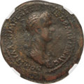 Ancients:Roman Imperial, Ancients: Domitia (AD 82-96). AE sestertius (35mm, 24.80 gm, 6h). NGC Fine 4/5 - 1/5....