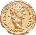Ancients:Roman Imperial, Ancients: Domitian, as Augustus (AD 81-96). AV aureus (19mm, 7.43gm, 6h). NGC Choice VF 5/5 - 3/5, brushed.. ...