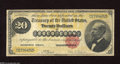 Large Size:Gold Certificates, Fr. 1178 $20 1882 Gold Certificate About Very Fine. A few veryminute edge splits are found on this early $20 Gold....