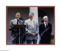 Autographs:U.S. Presidents, Superb Large Signed Photo of George H. W. Bush with Ted Williams and Joe DiMaggio...