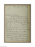 Autographs:U.S. Presidents, Grover Cleveland Thanks the Caretaker of His Confidant E. C.Benedict...