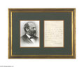 Autographs:U.S. Presidents, James Garfield Framed Image and ALS to John Sherman...