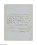Autographs:U.S. Presidents, Andrew Johnson 1868 Signed Presidential Document Regarding TreatyWith Russia...