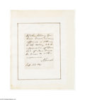 Autographs:U.S. Presidents, Abraham Lincoln Note as President, 1861...