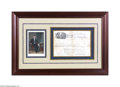 Autographs:U.S. Presidents, A Most Attractive Variety of President James Monroe Framed SignedMilitary Land Grant with Portrait...