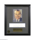 Autographs:U.S. Presidents, President Richard M. Nixon 1975 Handwritten Tribute to Actor JamesCagney...