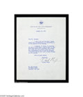 Autographs:U.S. Presidents, Richard Nixon Typed Letter as Vice President, 1956...