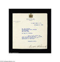 Autographs:U.S. Presidents, Franklin D. Roosevelt Typed Letter as Governor of New York, 1930...