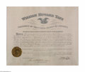 Autographs:U.S. Presidents, William Howard Taft Framed Signed Postmaster's Appointment 1912...