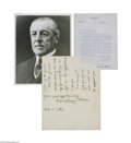 Autographs:U.S. Presidents, Woodrow Wilson and Wife, Edith Bolling Wilson, Pair of Signed Letters...