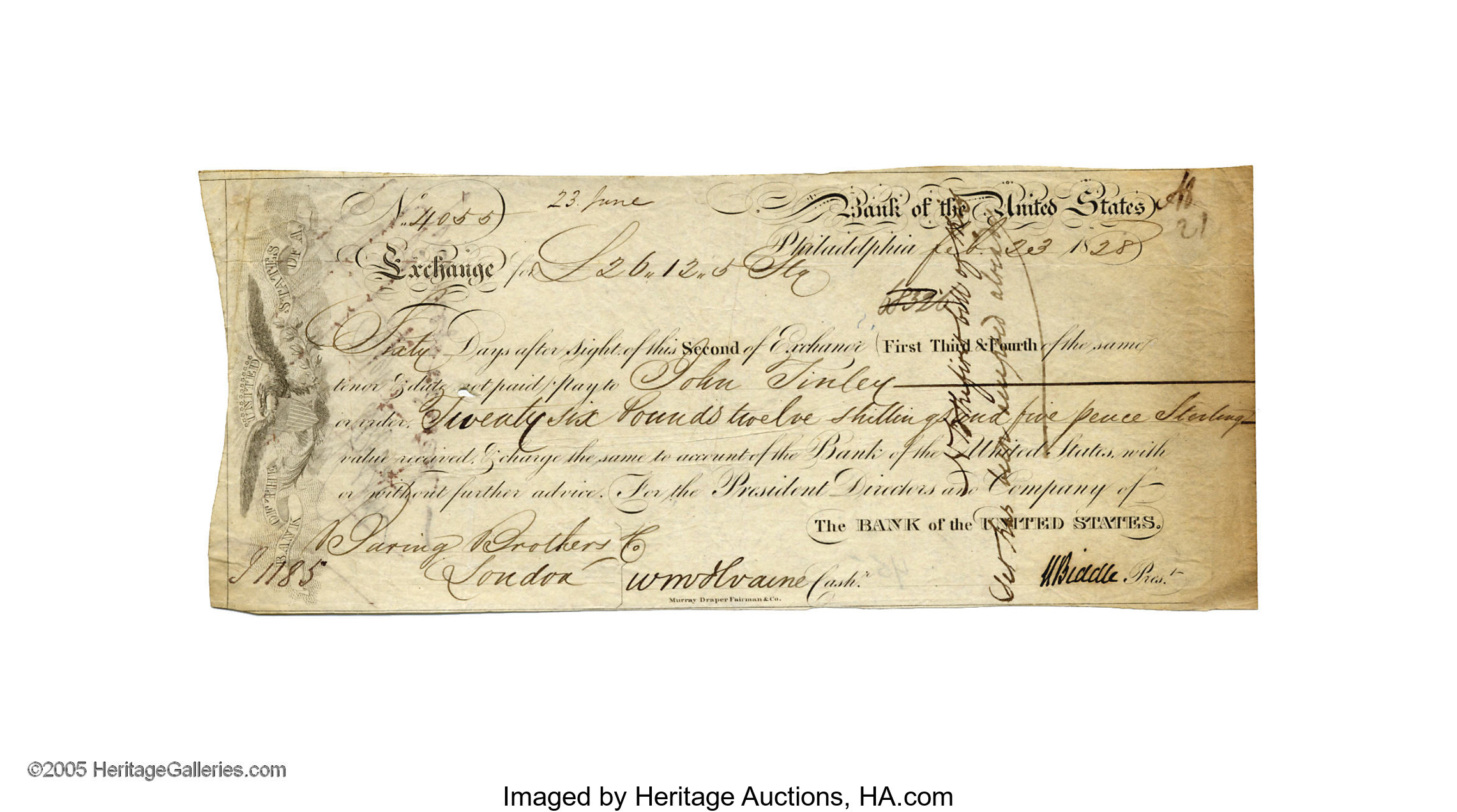 Nicholas Biddle Signed Draft As President Of The Bank Of The United Lot 25217 Heritage Auctions