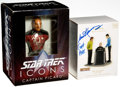 Memorabilia:Science Fiction, Star Trek Autographed Jean Luc Picard Mini-Statue and Captain Pike Christmas Ornament Group (Diamond Select/Hallmark, 2007-09)... (Total: 2 Items)