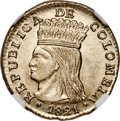 Colombia, Colombia: Cundinamarca. Republic Real 1821 Ba-JF MS63+NGC,...