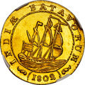 Netherlands East Indies:Dutch Colony, Netherlands East Indies: Dutch Colony. Batavian Republic gold (Proof) 1/2 Gulden 1802 UNC Details (Cleaned) NGC,...