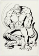 Carmine Infantino and Mike DeCarlo Killer Croc Toy Package Illustration Original Art (DC/Kenner, c. 1994).... (1)