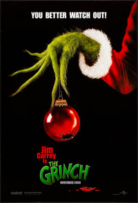 """The Grinch (Universal, 2000). Rolled, Very Fine-. One Sheets (2) (26.75"""" X 39.75"""") DS Advance, Two Styles. Com..."""