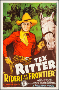 """Riders of the Frontier (Monogram, 1939). Fine+ on Linen. One Sheet (27"""" X 41""""). Western"""