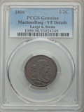 Half Cents, 1806 1/2 C Large 6, Stems, -- Machine Damage -- PCGS Genuine. VF Details. PCGS Population: (5/195). CDN:...