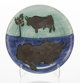 Pablo Picasso (1881-1973) Toros, 1952 White earthenware ceramic plate with colored engobe and black oxide 7-3/4 inch