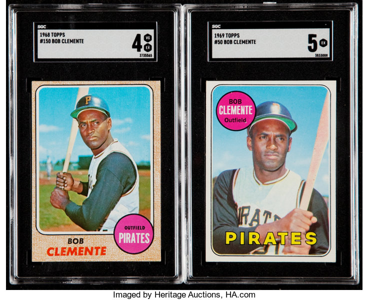1968 And 1969 Topps Roberto Clemente Sgc Graded Pair 2
