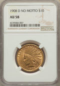 Indian Eagles: , 1908-D $10 No Motto AU58 NGC. NGC Census: (400/551). PCGS Population: (314/659). CDN: $862.69.Whsle. Bid for problem-free N...
