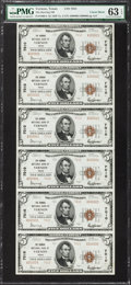 National Bank Notes:Texas, Vernon, TX - $5 1929 Ty. 2 The Herring NB Ch. # 7010 Uncut Sheet PMG Choice Uncirculated 63 EPQ.. ...