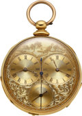 """Timepieces:Pocket (pre 1900) , M.I. Tobias Liverpool 18k Gold Two Train Captains Watch, """"Kentucky Cavalry Battle At Buena Vista"""" Scene. ..."""