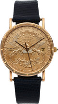 Timepieces:Wristwatch, Corum, $20 Gold Coin, 18k Gold Case, Quartz, Circa 1990's. ...