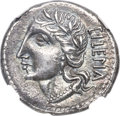 Ancients:Roman Republic, Ancients: Social War. Marsic Confederation (91-88 BC). AR denarius (19mm, 3.86 gm, 4h). NGC AU ★ 5/5 - 4/5....