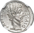 Ancients:Roman Imperial, Ancients: Augustus (27 BC-AD 14). AR denarius (19mm, 3.25 gm, 5h). NGC MS 5/5 - 4/5....