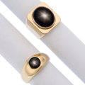 Estate Jewelry:Rings, Gentleman's Black Star Sapphire, Gold Rings. ... (Total: 2 Items)