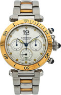 Timepieces:Wristwatch, Cartier, Pasha Chronograph, Stainless Steel and 18K Yellow Gold, Automatic, Ref. 2113, Circa 2000s. ...