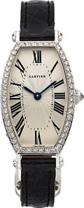Timepieces:Wristwatch, Cartier, Ladies Very Fine 18K White Gold and Diamond Tonneau,Manual Wind, Ref. 2456, Circa 2008. ...