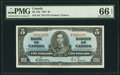 Canadian Currency, BC-23b $5 1937 PMG Gem Uncirculated 66 EPQ.. ...