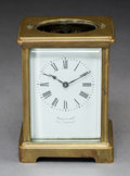 Decorative Arts, French:Other , A French Brass and Beveled Glass Carriage Clock with Ename...