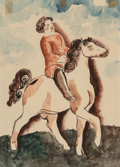 Fine Art - Work on Paper, Béla Kádár (Hungarian, 1877-1955). Girl on Horse. Watercoloron paper laid on board. 11-5/8 x 8-1/8 inches (29.5 x 20.6 ...