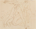 Fine Art - Painting, American, Lorser Feitelson (American, 1898-1978). Four Bathers, 1921.Ink on paper. 11-5/8 x 14-1/2 inches (29.5 x 36.8 cm) (sight...